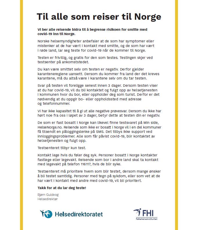 Informasjon Fra Helsedirektoratet Til Alle Som Reiser Til Norge Forside